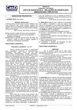 LISTA II - Relações de Significado, Ambiguidade e Implícitos