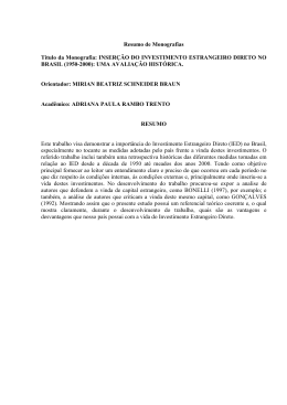 inserção do investimento estrangeiro direto no brasil