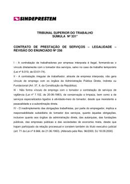 tribunal superior do trabalho súmula nº 331* contrato de prestação