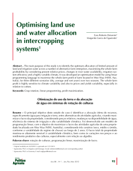 Optimising land use and water allocation in intercropping