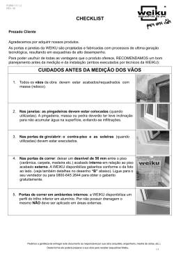 checklist cuidados antes da medição dos vãos
