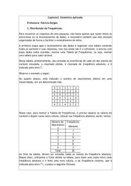 Capítulo2- Estatística Aplicada: Professora: Patricia Borges 2
