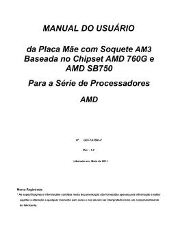 MANUAL DO USUÁRIO da Placa Mãe com Soquete