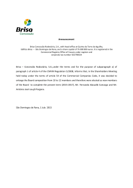 Announcement Brisa – Concessão Rodoviária, S.A.,under the terms