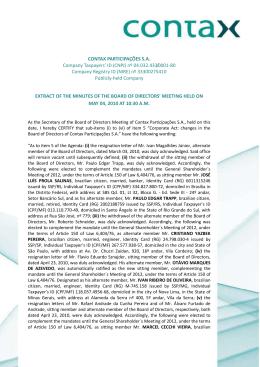 CONTAX PARTICIPAÇÕES S.A. Company Taxpayers` ID (CNPJ) nº