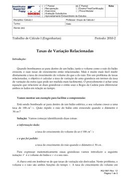 Taxas de Variação Relacionadas