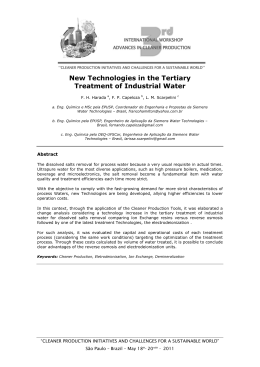 New Technologies in the Tertiary Treatment of Industrial Water