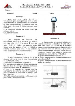Departamento de Física ICE – UFJF Opcional/Substitutiva do TVC 2