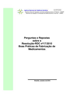 Perguntas e Repostas sobre a Resolução-RDC nº17/2010