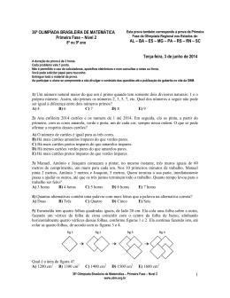 1 36ª OLIMPÍADA BRASILEIRA DE MATEMÁTICA Primeira