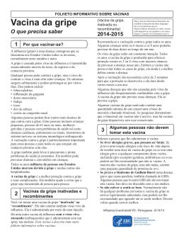 Folheto informativo sobre vacinas: Vacina da gripe inativada, 2013