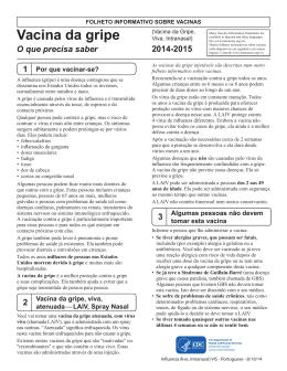 Folheto informativo sobre vacinas: Vacina da Influenza Atenuada