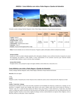 ANGOLA - Costa Atlântica com visita a Pedra Negras e