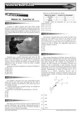 Lista de exercícios 3 Ano Apostila 02 Fisica I Modulo 16 (Exercício 14).