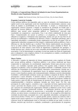 1 O Estado e o Cooperativismo Mineral: da Indução de uma Forma