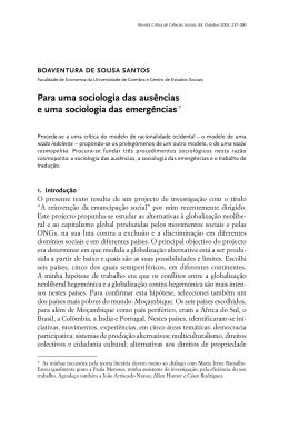 Para uma sociologia das ausências e uma sociologia das