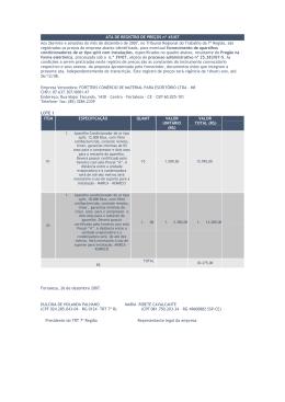 ATA DE REGISTRO DE PREÇOS nº 45/07 Aos 26(vinte e seis)dias