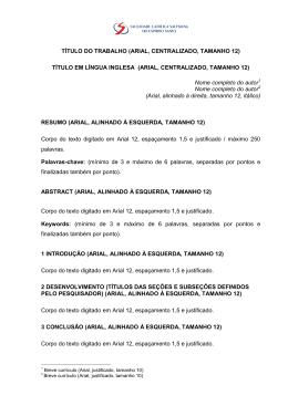 TÍTULO DO TRABALHO (ARIAL, CENTRALIZADO, TAMANHO 12
