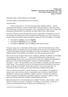 O Reitor-Mor Homilia na Abertura do Ano Acadêmico 2015