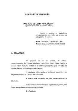 COMISSÃO DE EDUCAÇÃO PROJETO DE LEI No 7.646, DE 2014 I