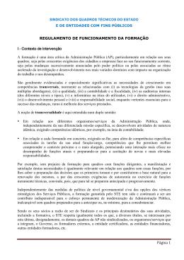 Regulamento de Funcionamento da Formação