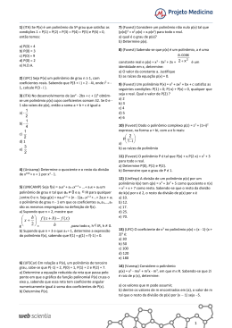Exercícios Matemática - Polinômios
