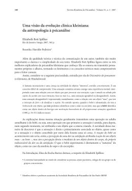 Uma visão da evolução clínica kleiniana: da antropologia