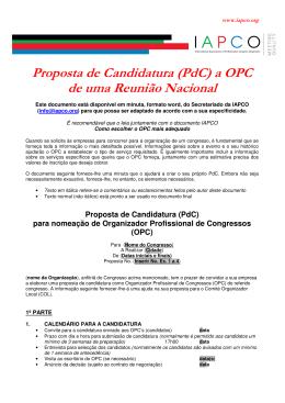 Proposta de Candidatura (PdC) a OPC de uma Reunião