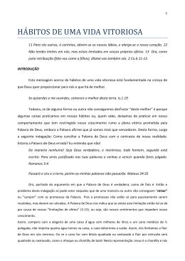 HÁBITOS DE UMA VIDA VITORIOSA