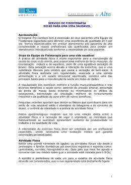 SERVIÇO DE FISIOTERAPIA DICAS PARA UMA VIDA SAUDÁVEL