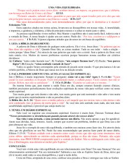 Estudo 27072014 - UMA VIDA EQUILIBRADA
