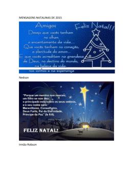 MENSAGENS NATALINAS DE 2015 Nedson Irmão Robson