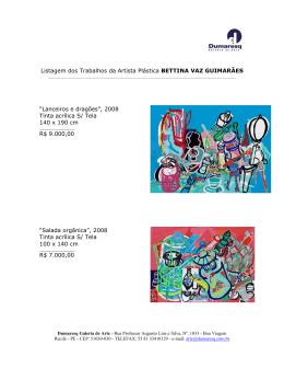 16/05/2013 Listagem dos Trabalhos da Artista
