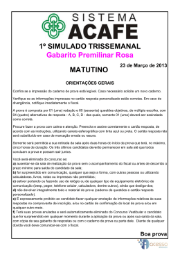 1º SIMULADO TRISSEMANAL Gabarito