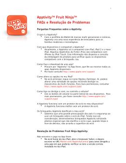 Apptivity™ Fruit Ninja™ FAQs e Resolução de Problemas