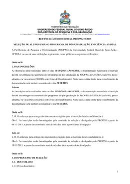 RETIFICAÇÃO 02 DO EDITAL PROPPG 17/2015 SELEÇÃO
