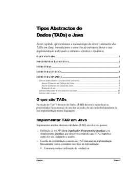 Tipos Abstractos de Dados (TADs) e Java