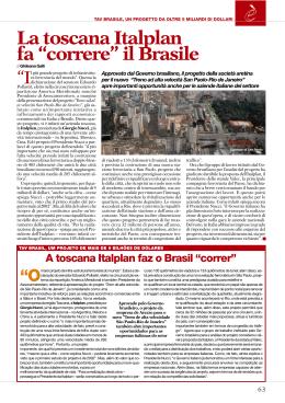"""La toscana Italplan fa """"correre"""" il Brasile"""