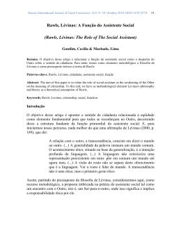 Rawls, Lévinas: A Função do Assistente Social