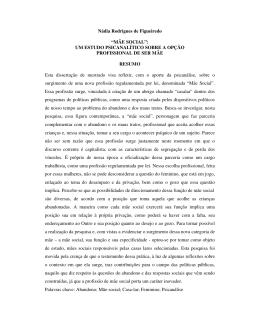 """Nádia Rodrigues de Figueiredo """"MÃE SOCIAL"""": UM ESTUDO"""