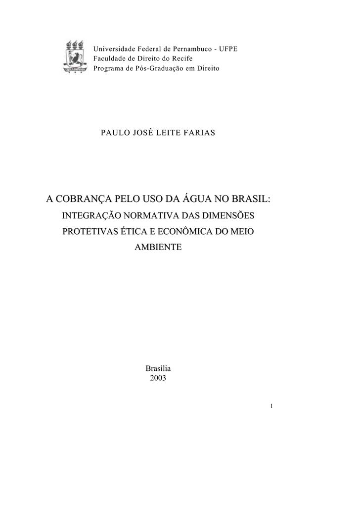 A cobrana pelo uso da gua no brasil liber fandeluxe Image collections