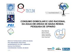 consumo domiciliar e uso racional da água em áreas de baixa renda