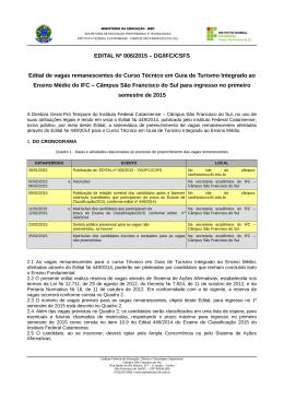EDITAL Nº 006/2015 – DG/IFC/CSFS Edital de vagas