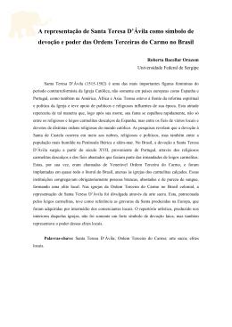 A representação de Santa Teresa D`Ávila como símbolo de