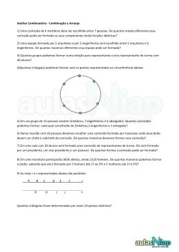 Análise Combinatória -‐ Combinação e Arranjo 1) Uma comissão