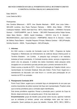 REUNIÃO ORDINÁRIA DA COMISSÃO DE ENFRENTAMENTO