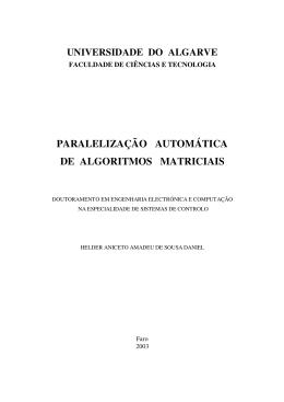 PARALELIZAÇÃO AUTOMÁTICA DE ALGORITMOS MATRICIAIS