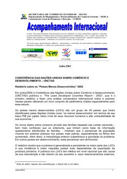 Julho/2002 CONFERÊNCIA DAS NAÇÕES UNIDAS SOBRE