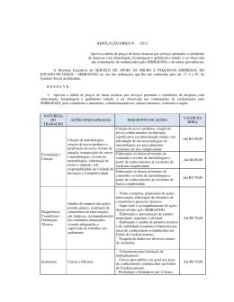 RESOLUÇÃO DIREX N. /2011 Aprova a tabela de preços de horas