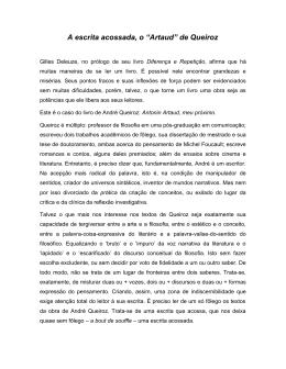 """A escrita acossada, o """"Artaud"""" de Queiroz"""